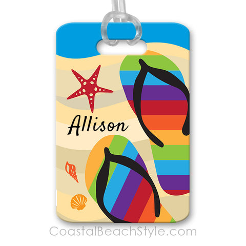 Beach Rainbow Flip Flops Luggage Tag
