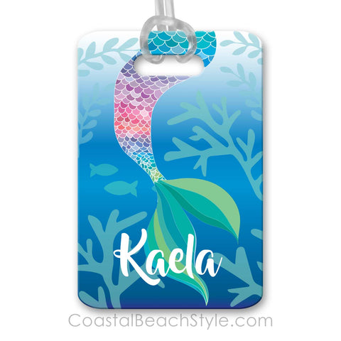 Mermaid Tail Pastel Rainbow Personalized Custom Luggage Bag Tag