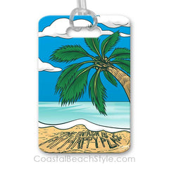 Palm Tree Tropical Beach Luggage Tag