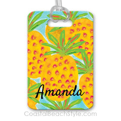 Pineapple Luggage Bag Tag Tropical Beach Island Hawaiian