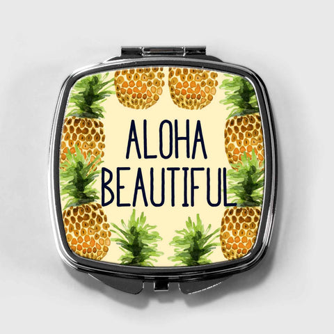 Aloha Beautiful Pineapple Compact Mirror