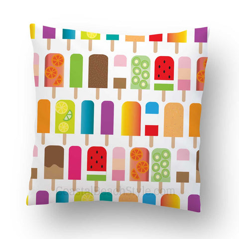 Summer Popsicles Outdoor Throw Pillow