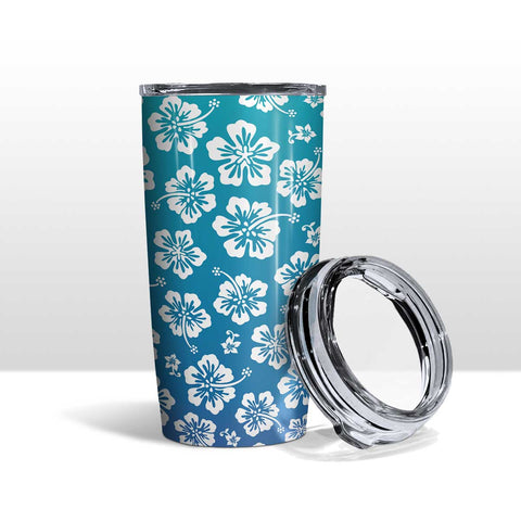 Hawaiian Hibiscus Beach Tumbler Travel Mug Flowers Teal