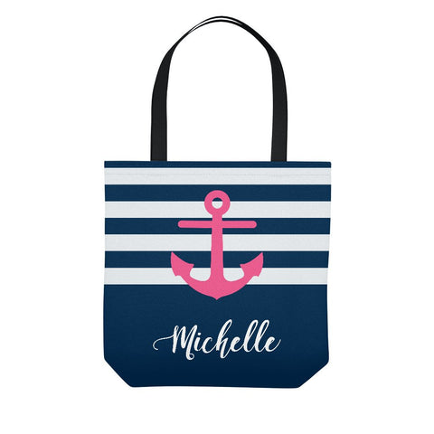Navy Pink Anchor Stripe Personalized Tote Bag