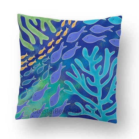 Coral Life Outdoor Throw Pillow