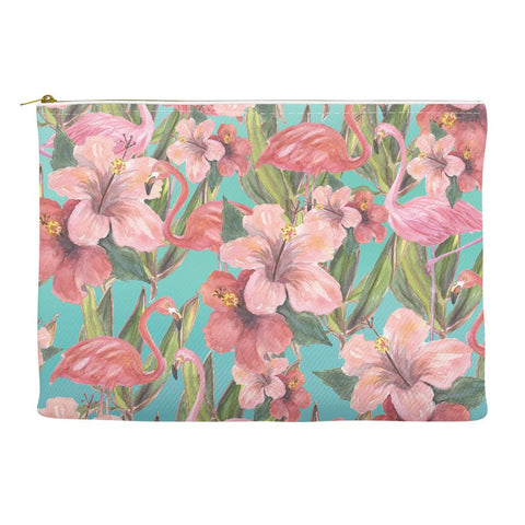 Tropical Flamingos Hibiscus Flower Accessory Pouch