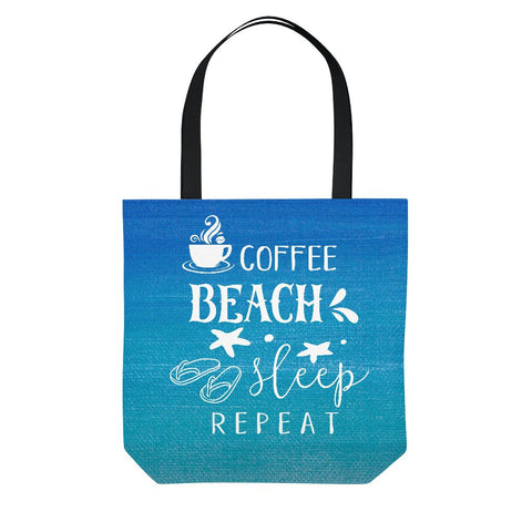 Watercolor Coffee Beach Sleep Repeat Blue Tote Bag