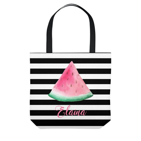 Watermelon Stripe Personalized Tote Bag