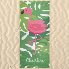 Tropical Florida Flamingo Personalized Custom Beach Towel