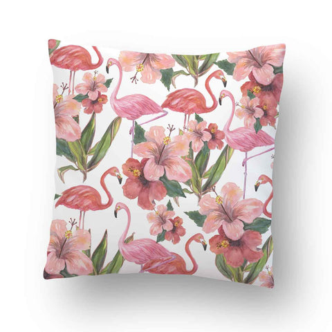 Flamingos Hibiscus Flowers Tropical Outdoor Pillow