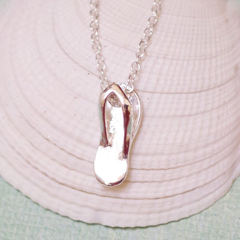 Silver-Plated Flip Flop Necklace