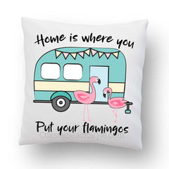 Happy Camper Flamingo Outdoor Pillow