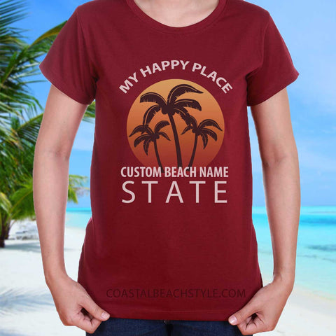 Custom Name Beach Happy Place T Shirt Personalized Gift For Beach Lover