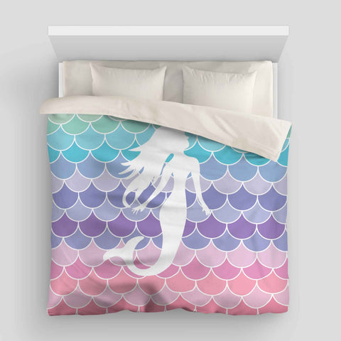 Pretty Mermaid Scales Pastel Beach Duvet Bed Cover