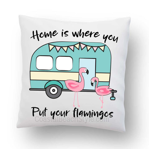 Flamingos Camper Indoor Throw Pillow Cover