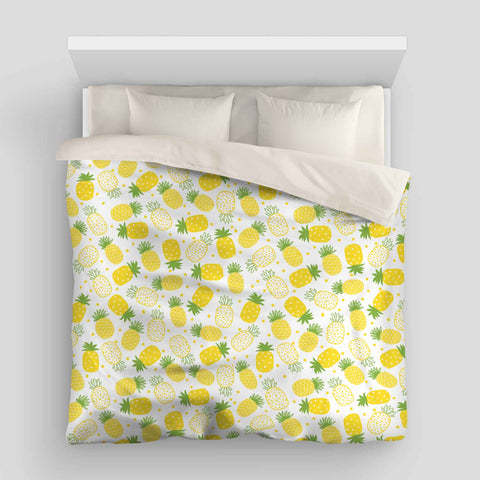 Pineapples Tropical Beach Duvet Cover
