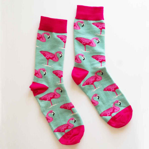 Tropical Flamingo Crew Socks
