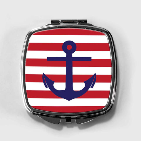 Nautical Stripes and Anchor Compact Mirror