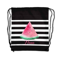 Black & White Stripe Watermelon Drawstring Personalized Bag