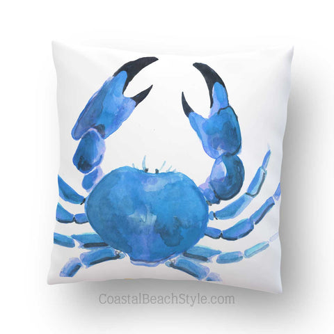 Blue Crab Outdoor Throw Pillow