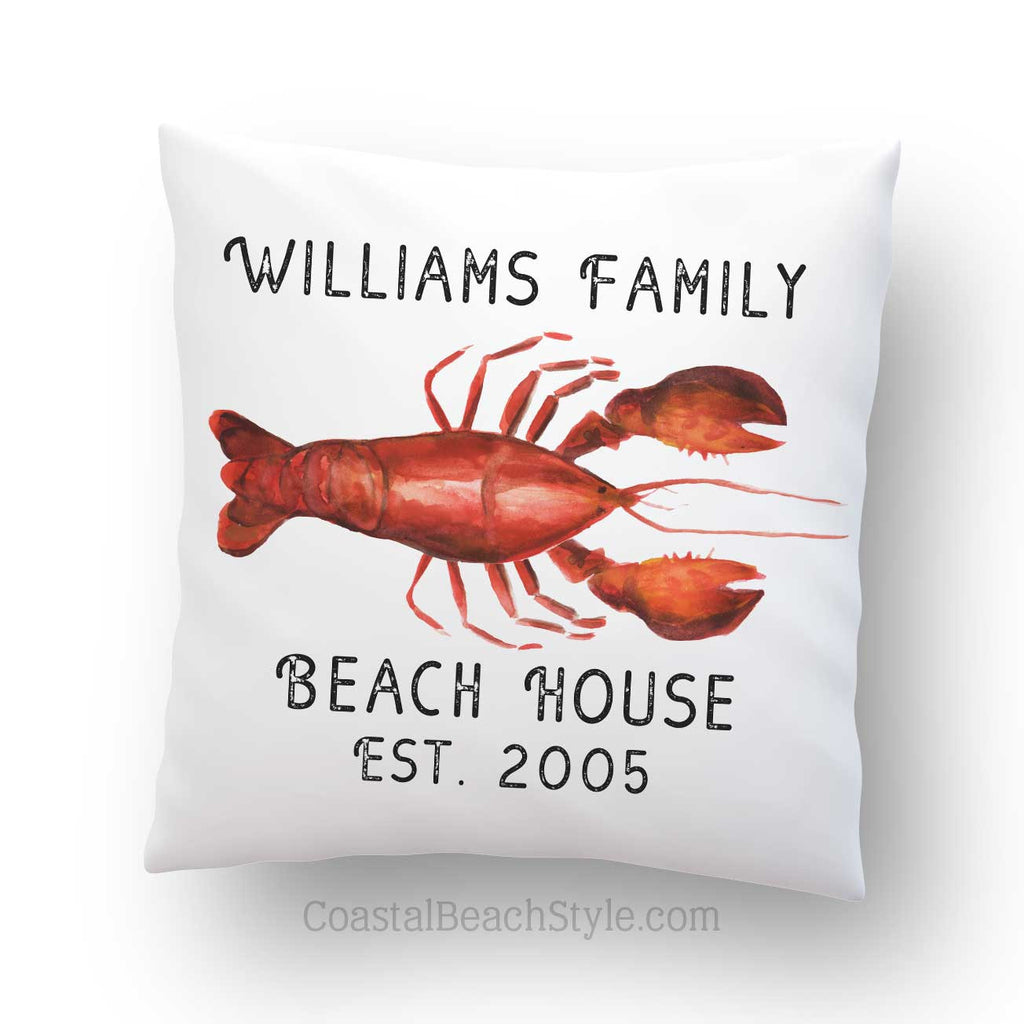 Personalized Lobster Outdoor Throw Pillow