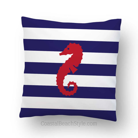 Nautical Seahorse Indoor Throw Pillow Cover