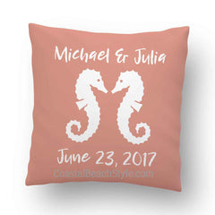 Seahorse Beach Wedding Personalized Throw Pillow