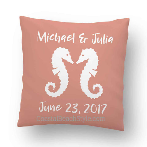 Personalized Seahorse Wedding Indoor Throw Pillow Cover