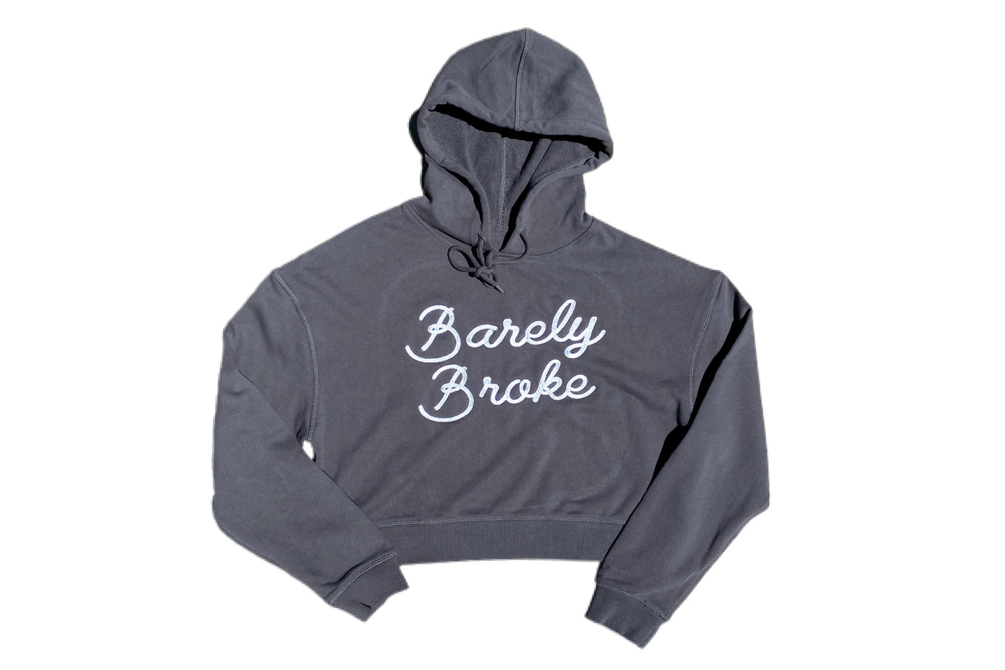 Barely Broke Embroidered Crop Hoodie