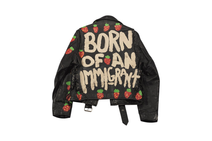 BORN OF AN IMMIGRANT PAINTED LEATHER MOTO JACKET