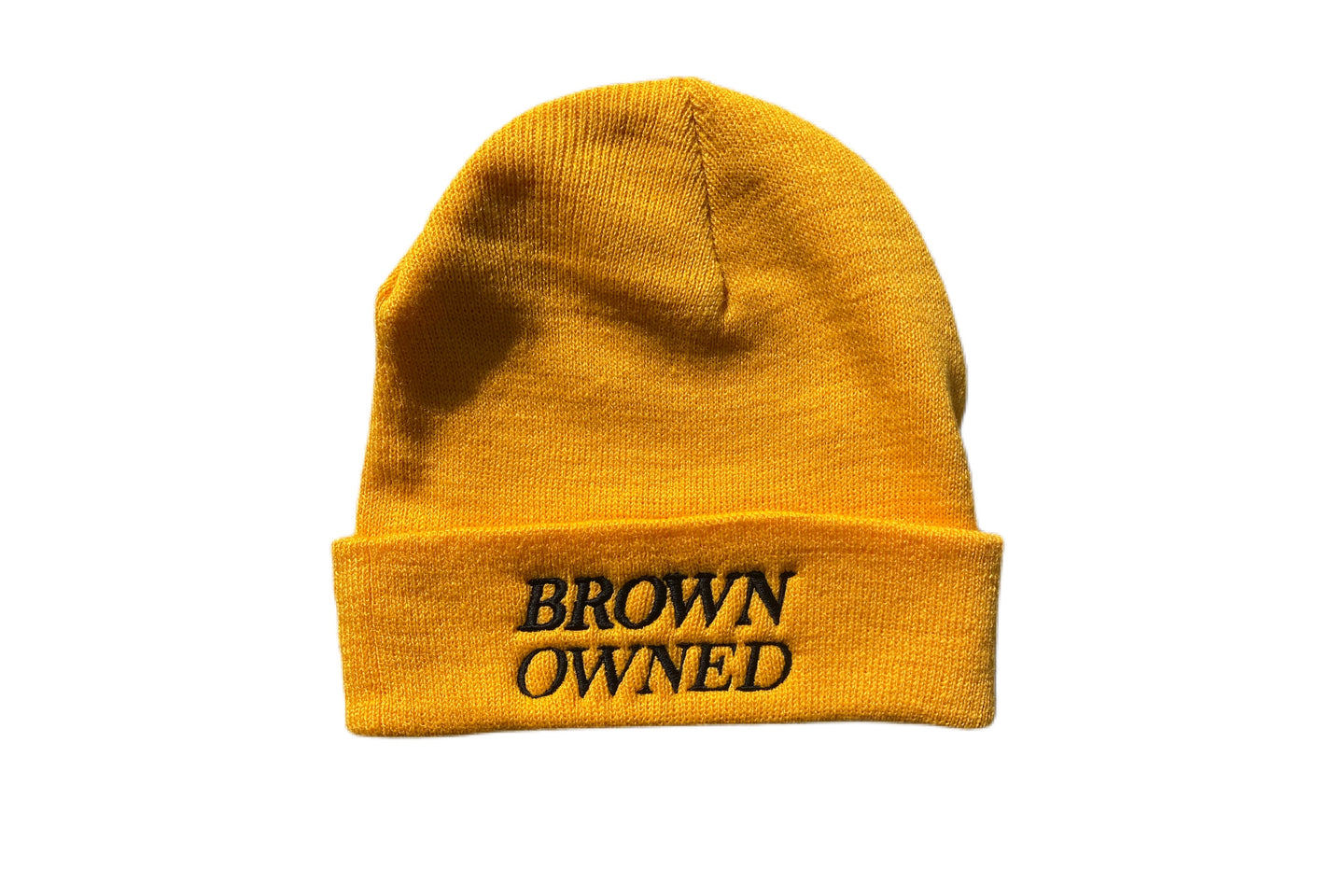 Brown Owned Yellow Beanie
