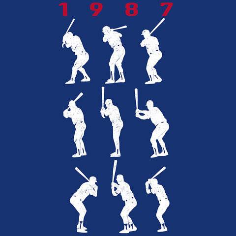 1987 Game 7 Batting Stances - Unisex T-Shirt - Heather Columbia Blue - Pick & Shovel Wear