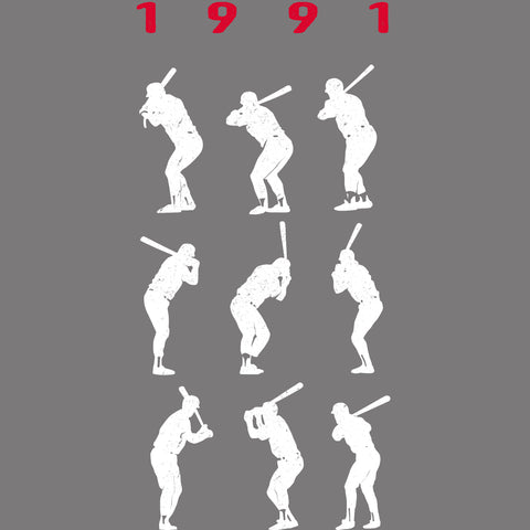 1991 Game 7 Batting Stances - Unisex T-Shirt - Heather Columbia Blue - Pick & Shovel Wear