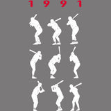 1991 Game 7 Batting Stances - Unisex Raglan 3/4 Sleeve Baseball Shirt - Pick & Shovel Wear