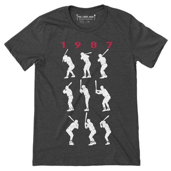1987 Game 7 Batting Stances - Unisex T-Shirt - Charcoal - Pick & Shovel Wear
