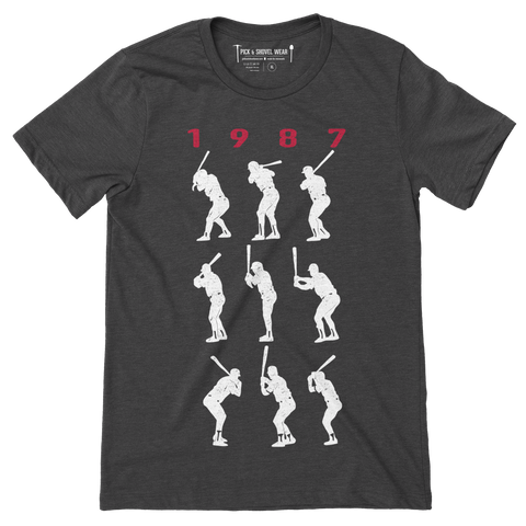 1987 Game 7 Batting Stances - Unisex T-Shirt - Charcoal