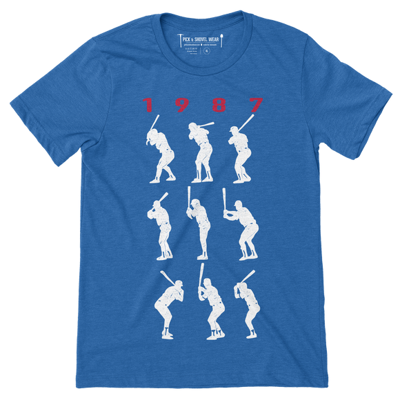 1987 Game 7 Batting Stances - Unisex T-Shirt - Heather Royal Blue - Pick & Shovel Wear