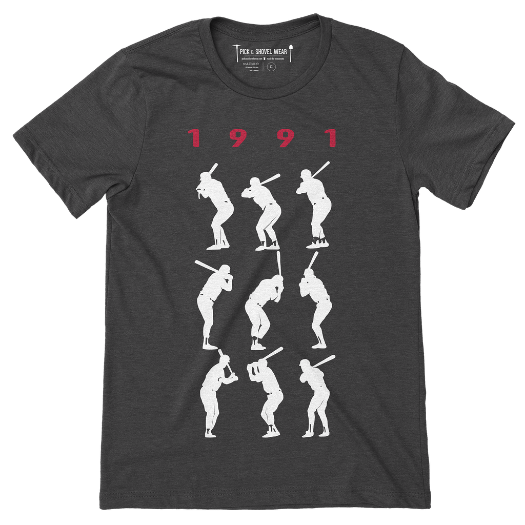 1991 Game 7 Batting Stances - Unisex T-Shirt - Charcoal