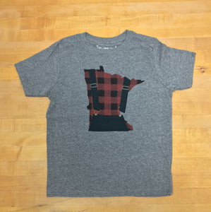 Minnesota Plaid Overall - Youth' Triblend Crew Tee - Pick & Shovel Wear