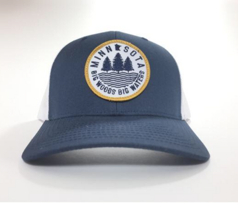 Big Woods Big Waters Snapback Cap - Navy Blue/White