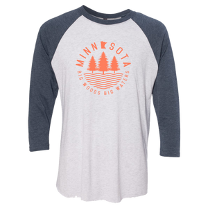 Big Woods/Big Waters : Unisex Raglan Shirt - Indigo/Heather White - Pick & Shovel Wear