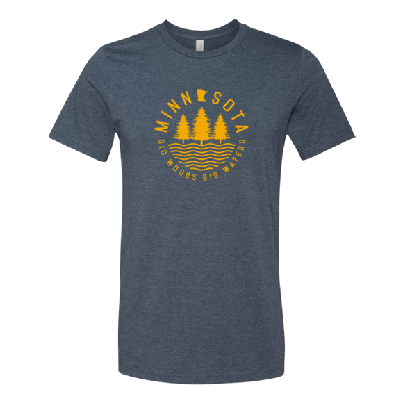 Big Woods Big Waters - Adult Unisex T-Shirt - Navy - Pick & Shovel Wear
