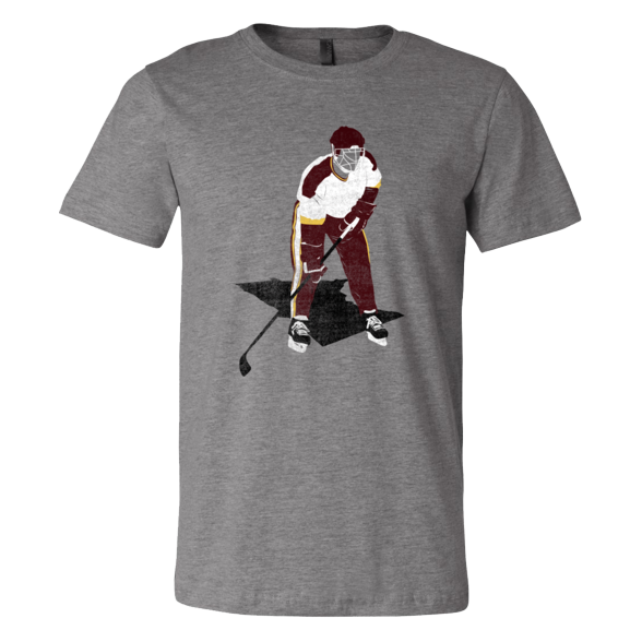 Cooperall Cat Eye Mask - Classic Hockey Gear - Maroon/Gold- Unisex T-Shirt - Pick & Shovel Wear