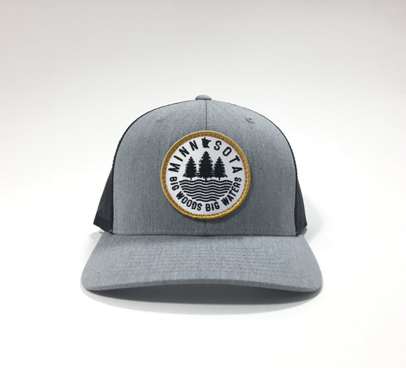 Big Woods Big Waters Snapback Cap - Heather Gray/Black - Pick & Shovel Wear