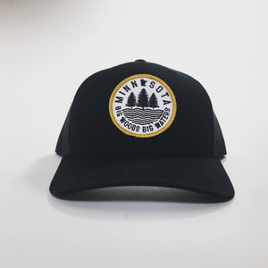 Big Woods Big Waters Snapback Cap - Black Black - Pick & Shovel Wear