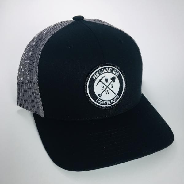 From the North - Pick & Shovel Wear Logo PSW Trucker Snapback Cap - Black/Dark Gray - Pick & Shovel Wear