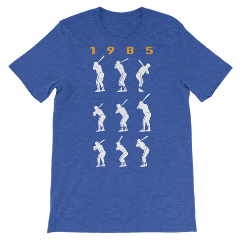 1985 Game 7 Batting Stances (Yellow Heading) - Unisex T-Shirt