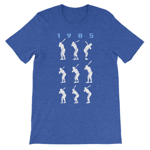 1985 Game 7 Batting Stances (Blue Heading) - Unisex T-Shirt