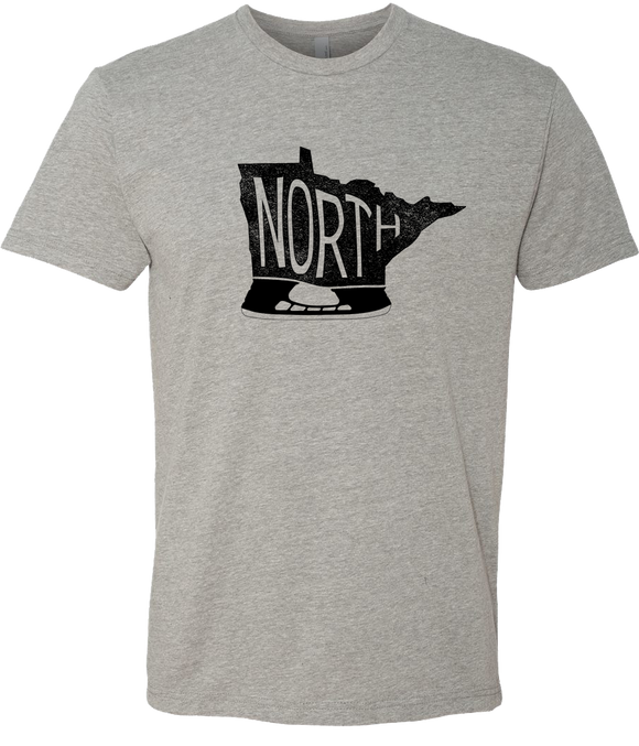 Minnesota - North Hockey Skate - Dark Heather Gray - Unisex T-Shirt - Pick & Shovel Wear