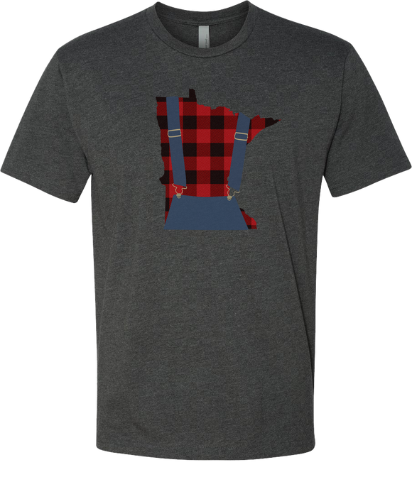 Minnesota Plaid Overalls - Unisex T-Shirt - Charcoal - Pick & Shovel Wear